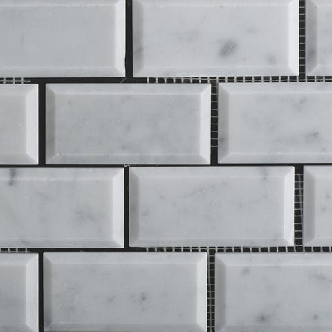 Carrara White Marble 2x4 Beveled Mosaic Polished/Honed Stone Tilezz
