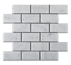 Carrara White Marble 2x4 Beveled Mosaic Polished/Honed