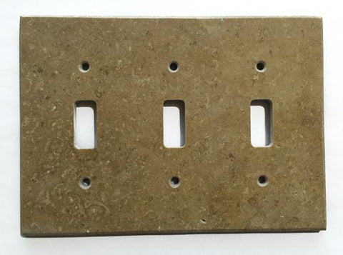 Noce Travertine Triple Toggle Switch Wall Plate