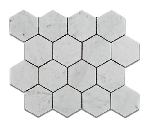 "Carrara White Hexagon 3"" Mosaic Polished/Honed Stone Tilezz"