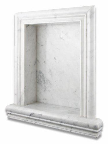 Carrara White Marble Hand-Made Shampoo Niche / Shelf - LARGE Bath Accessories Tilezz