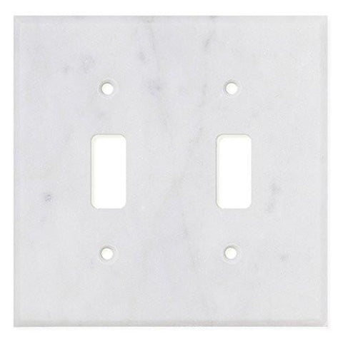 ITALIAN CARRARA WHITE MARBLE DOUBLE TOGGLE SWITCH WALL PLATE / SWITCH PLATE / COVER - HONED OR POLISHED