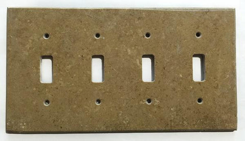Noce Travertine Quadruple Toggle Switch Wall Plate/ Outlet Cover Tilezz