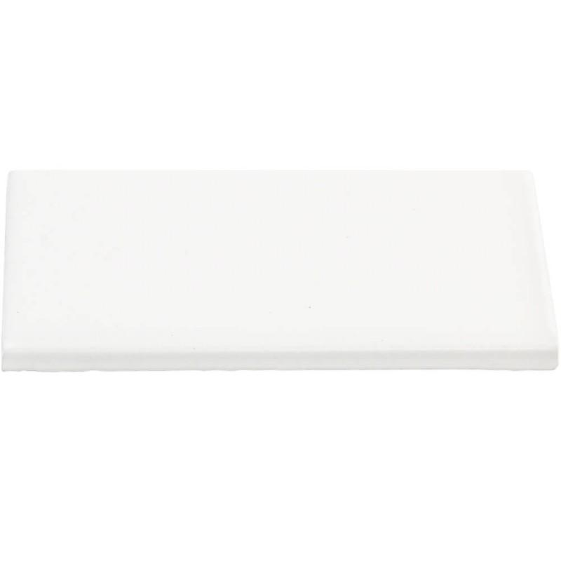 "Simple City Ice White Glossy 6"" Side Bullnose Tilezz"