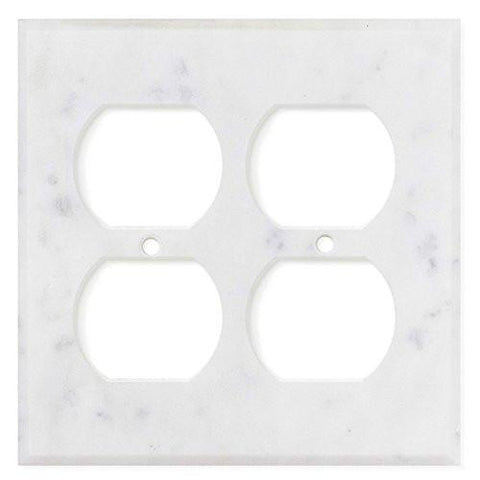 ITALIAN CARRARA WHITE MARBLE DOUBLE DUPLEX SWITCH WALL PLATE / SWITCH PLATE / COVER - HONED OR POLISHED