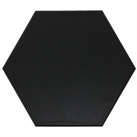 Madrid Black 9x10 Hexagon Matte Porcelain Tile Tilezz
