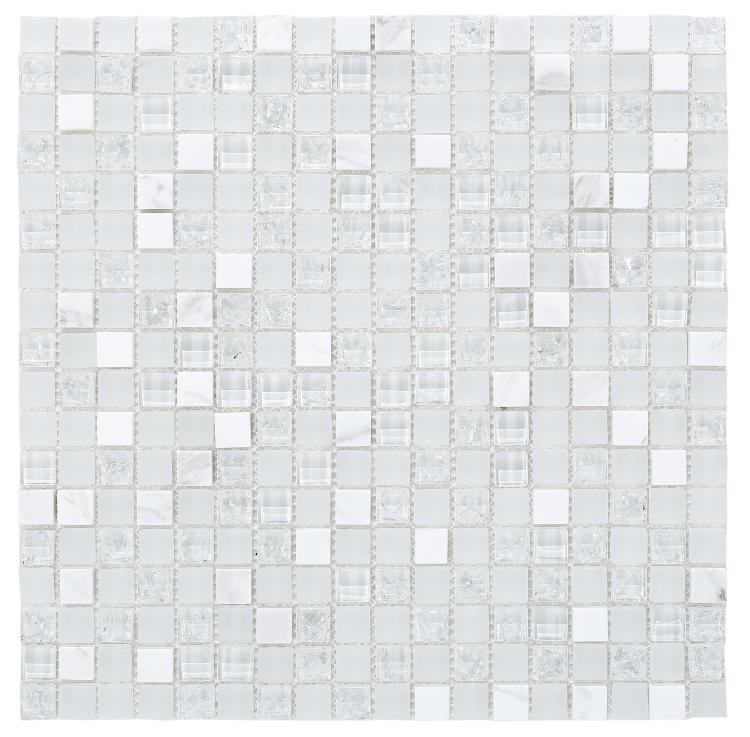 Icy White Cube Crackled Glass Mosaic Tilezz