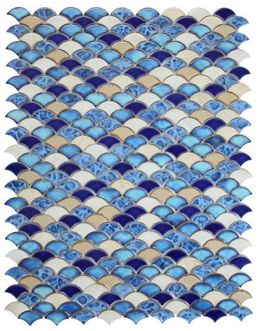 Dragon Scale Blue Porcelain Mosaic (Pool Rated) Tilezz