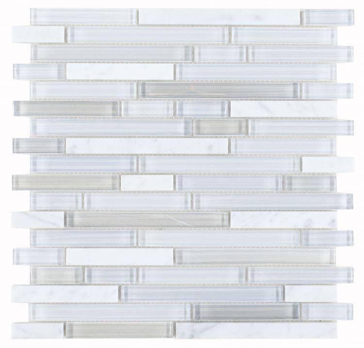 Linear Carrara Goose Glass Brick Mosaic Tilezz