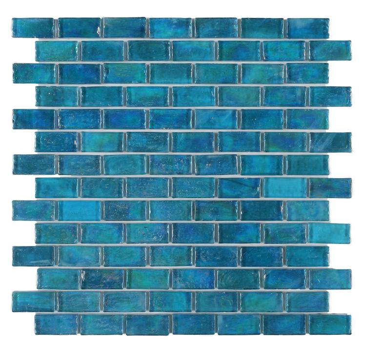 Malibu Blue Glass Brick Mosaic (Pool Rated) Tilezz