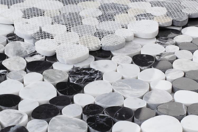 Aphrodite Carrara White and Black Marble Pebble Mosaic Tilezz
