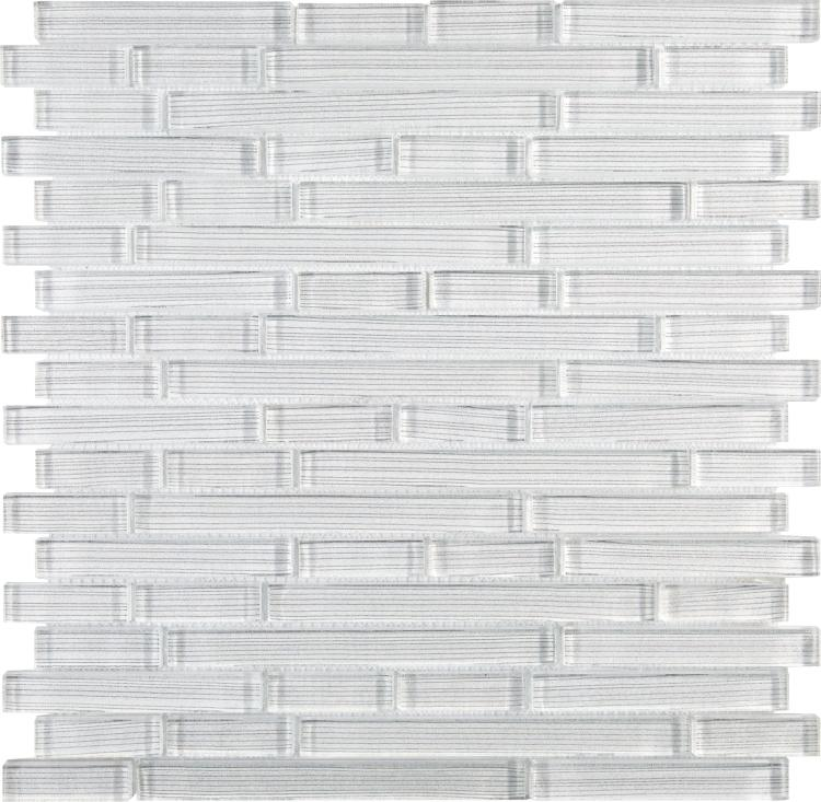 Linear Silver White Glass Brick Mosaic Tilezz