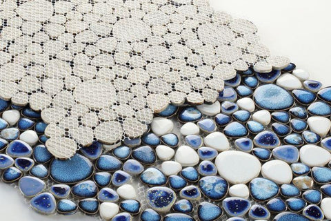 Growing Royal Blue Porcelain Pebble Mosaic (Pool Rated) Tilezz