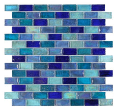 Malibu Sky Glass Brick Mosaic (Pool Rated) Tilezz