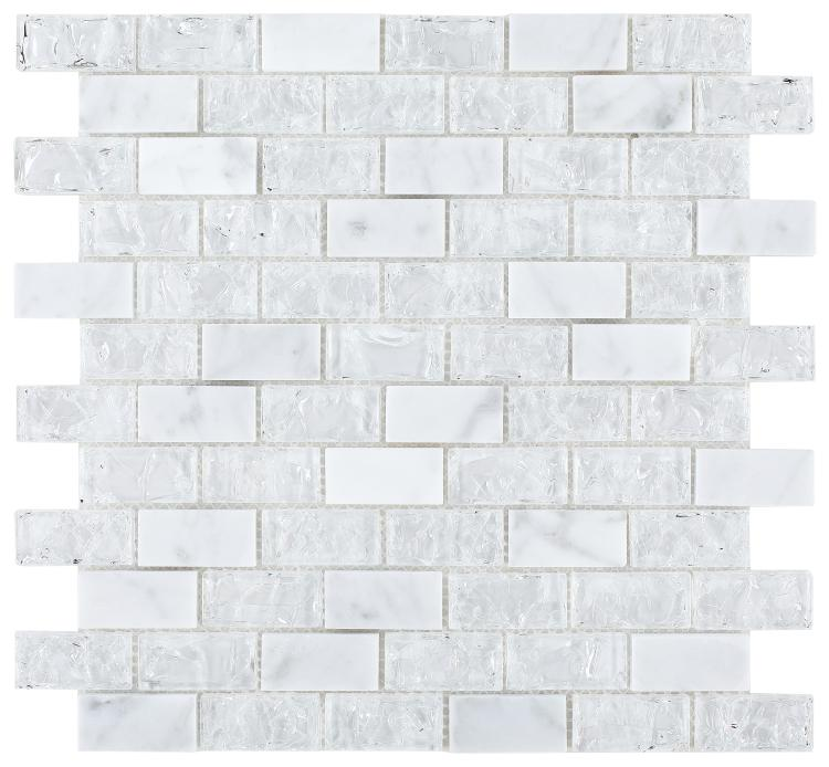 Icy White Crackled Glass Brick Mosaic Tilezz