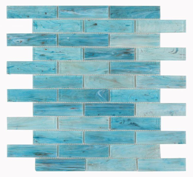 Hot Blue Glass Linear Brick Mosaic (Pool Rated) Tilezz