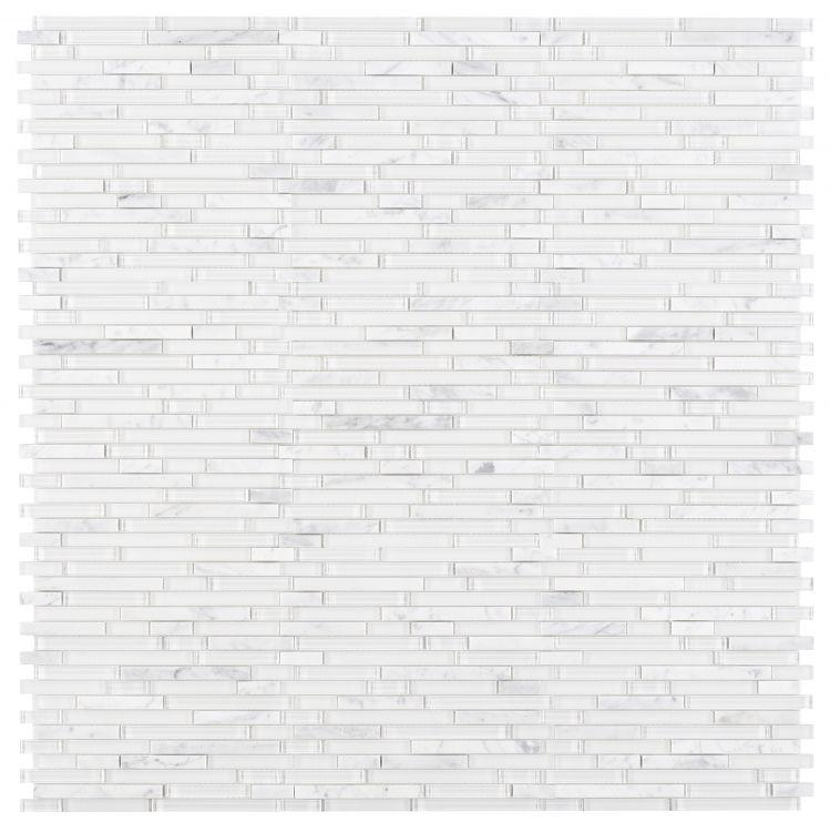 Linear Carrara White Glass Brick Mosaic Tilezz