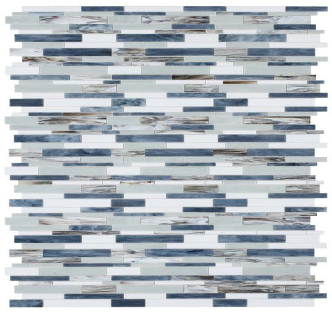 Newport Beach Linear Interlocking Glass Mosaic Blend ( Pool Rated ) Tilezz