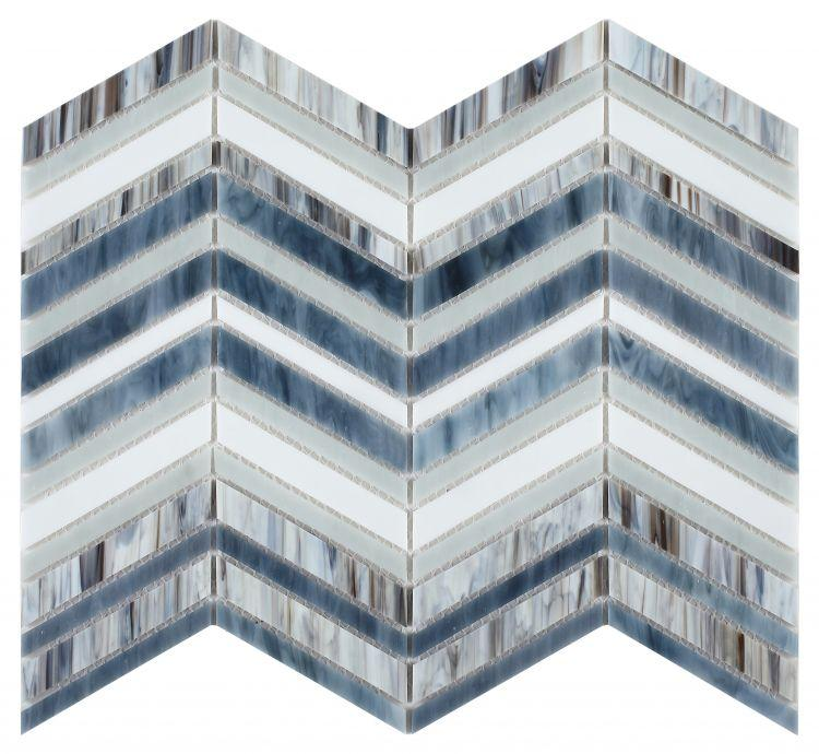 Newport Beach Wave Chevron Glass Mosaic Blend ( Pool Rated ) Tilezz