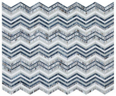 Newport Beach Wave Chevron Glass Mosaic Blend ( Pool Rated )