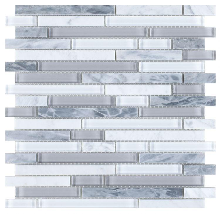 Linear Montage Grey Glass Brick Mosaic Tilezz