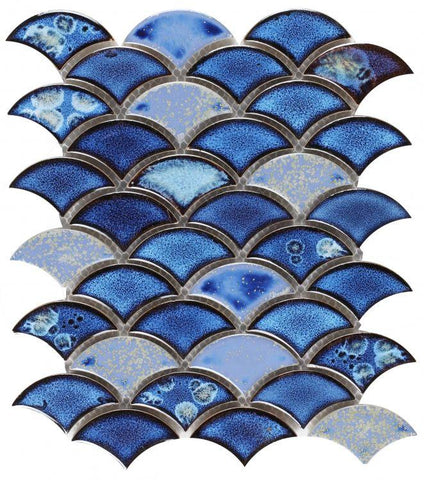 Dragon Scale Royal Blue Porcelain Mosaic (Pool Rated) Tilezz