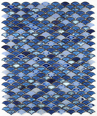 Dragon Scale Royal Blue Porcelain Mosaic (Pool Rated)