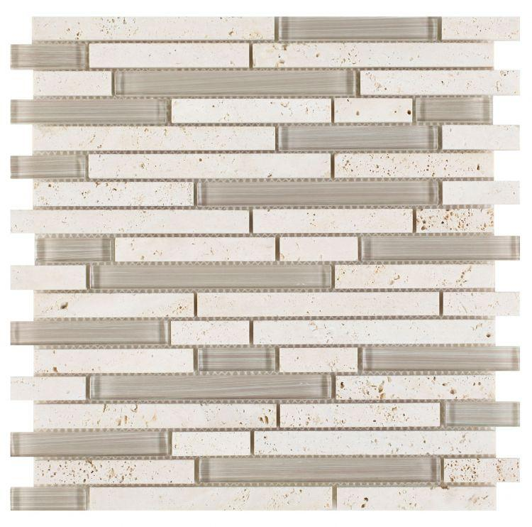 Linear Travertine and Glass Brick Mosaic Tilezz