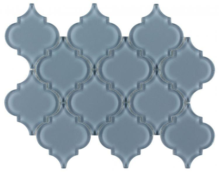 Kendra Blue Shining Arabesque Glass Tile (Pool Rated) Tilezz