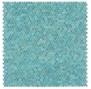 Malibu Turquoise Glass Penny Round Mosaic (Pool Rated) Tilezz