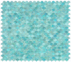 Malibu Turquoise Glass Scallop Mosaic (Pool Rated)