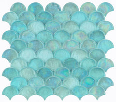 Malibu Turquoise Glass Scallop Mosaic (Pool Rated) Tilezz
