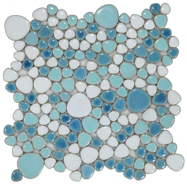 Growing Jewel Iris Porcelain Pebble Mosaic (Pool Rated) Tilezz