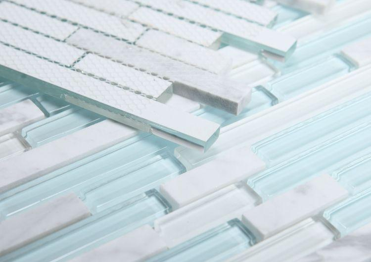 Linear Carrara Turquoise Glass Brick Mosaic Tilezz