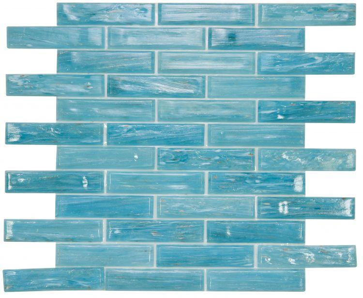 Hot Long Clear Blue Glass Linear Brick Mosaic (Pool Rated) Tilezz