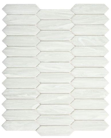 Arrow White Picket Glass Mosaic ( Pool Rated ) Tilezz