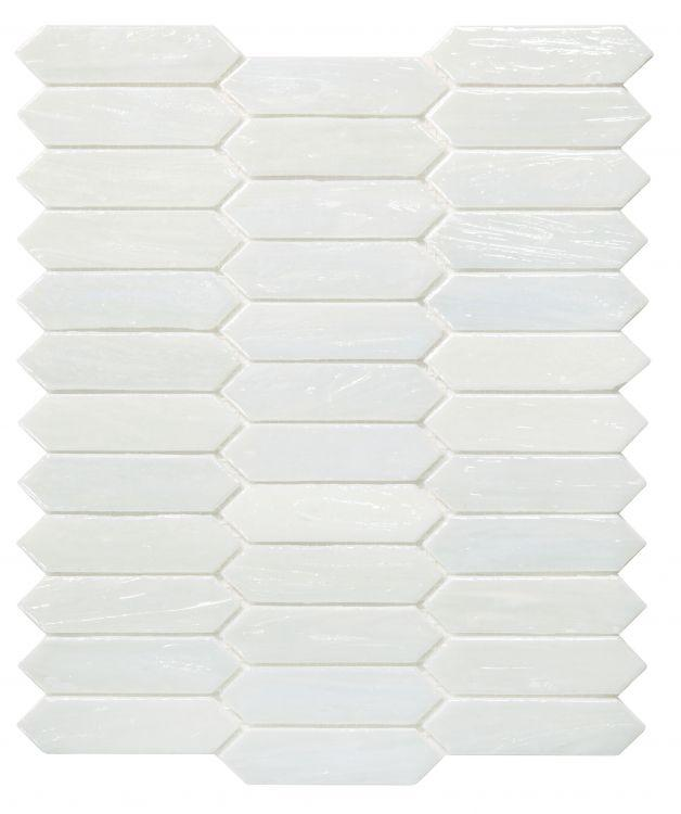 Arrow White Pearl Picket Glass Mosaic ( Pool Rated ) Tilezz