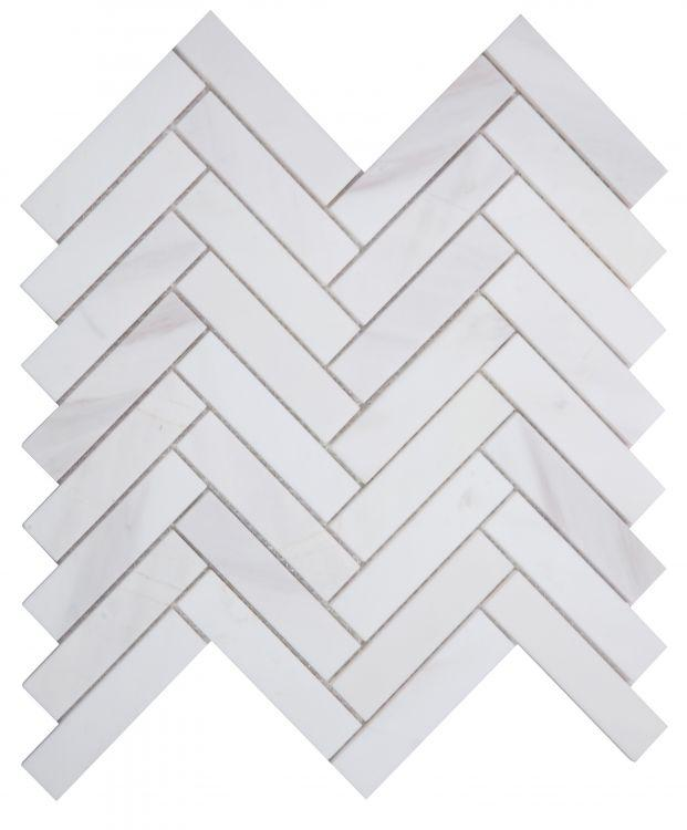 Bianco Dolomite 1x4 Herringbone Mosaic Polished/Honed Tilezz