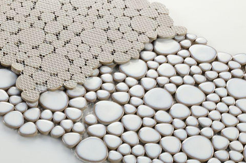 Growing Fancy White Porcelain Pebble Mosaic (Pool Rated) Tilezz