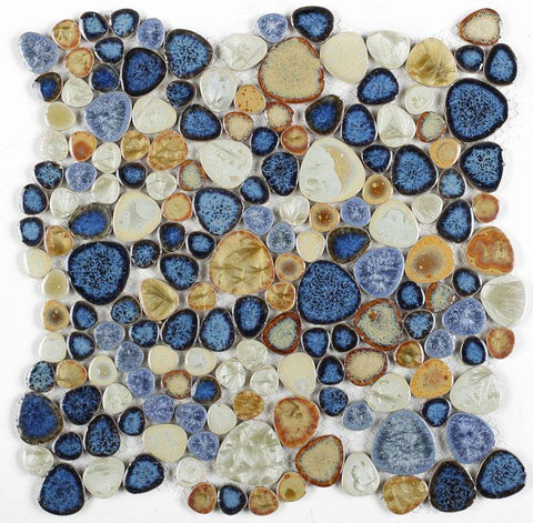 Growing Blue Porcelain Pebble Mosaic (Pool Rated) Tilezz
