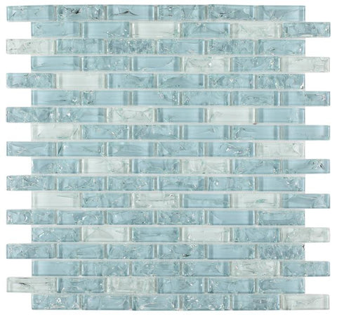 Icy Ocean Blue Brick Crackled Glass Mosaic Tilezz