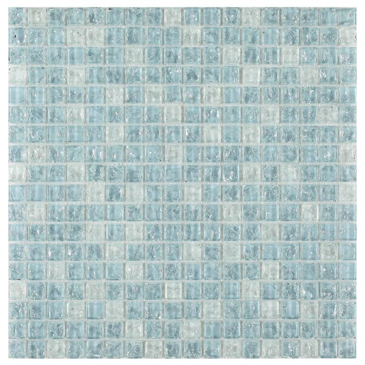 Icy Ocean Blue Cube Crackled Glass Mosaic Tilezz