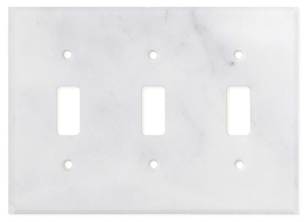Carrara White Marble Triple Toggle Switch Plate Polished/Honed Tilezz