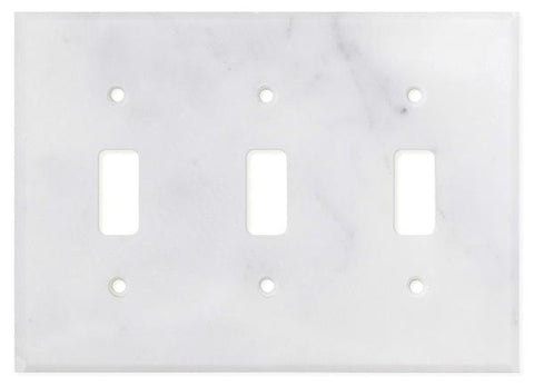 ITALIAN CARRARA WHITE MARBLE TRIPLE TOGGLE SWITCH WALL PLATE / SWITCH PLATE / COVER - HONED OR POLISHED