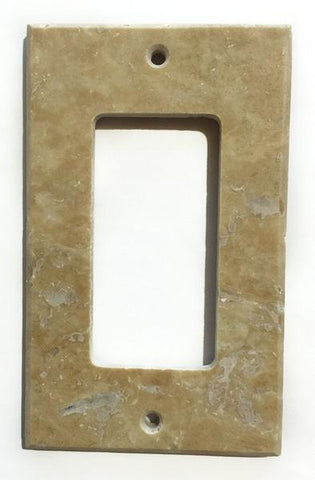 Light Walnut Travertine Single Rocker Switch Wall Plate/ Outlet Cover Tilezz