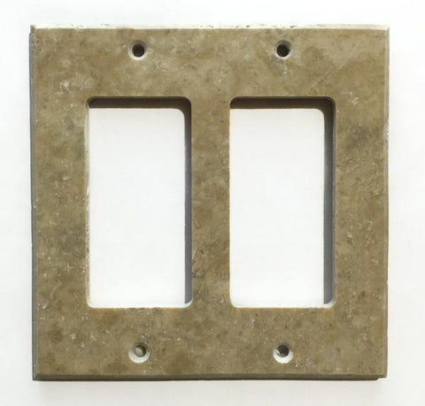 Light Walnut Travertine Double Rocker Switch Wall Plate/ Outlet Cover Tilezz