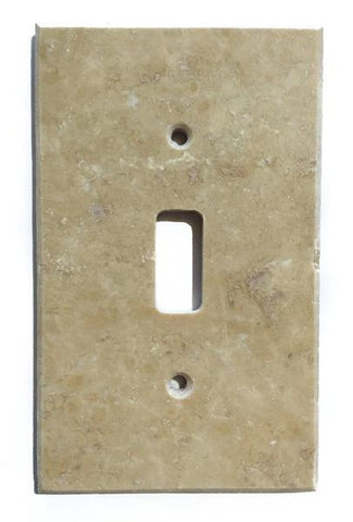 Light Walnut Travertine Single Toggle Switch Wall Plate