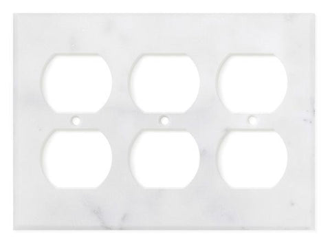 ITALIAN CARRARA WHITE MARBLE TRIPLE DUPLEX SWITCH WALL PLATE / SWITCH PLATE / COVER - HONED OR POLISHED