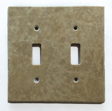Light Walnut Travertine Double Toggle Switch Wall Plate/ Outlet Cover Tilezz