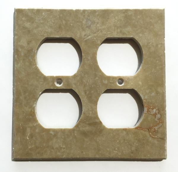 Light Walnut Travertine Double Duplex Switch Wall Plate/ Outlet Cover Tilezz